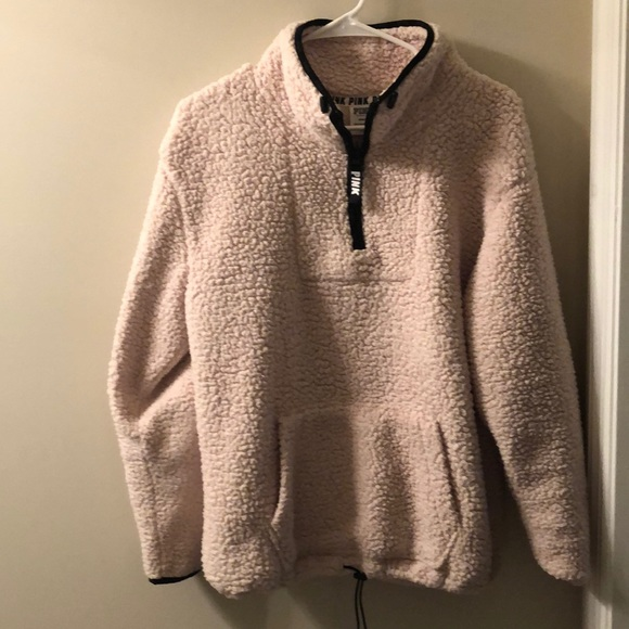 fcac912d142dd Pink VS Sherpa pullover in champagne. M 5c548639d6dc52bfc58f4a46